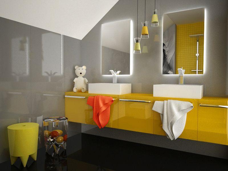 Mała łazienka Na Poddaszu Pomysł Na łazienkę Dla Dzieci  Bathroom  Pinterest  Small bathroom