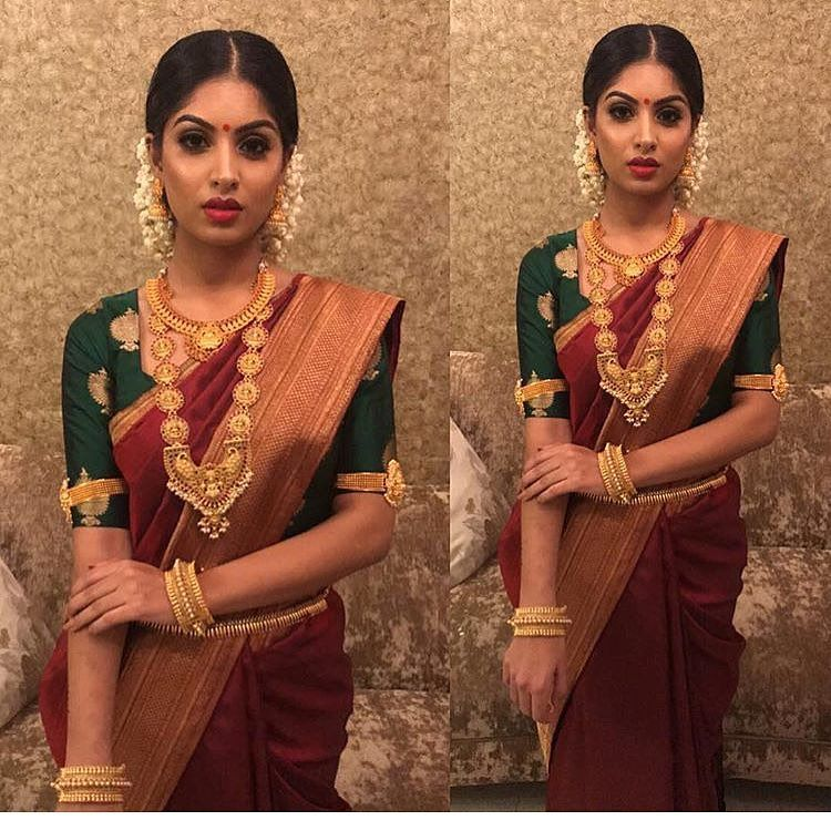 1 607 Likes 9 Comments Tie The Thali Tiethethali On Instagram Contrast Colour Blouses Bridal Blouse Designs Fashion Blouse Design Engagement Saree
