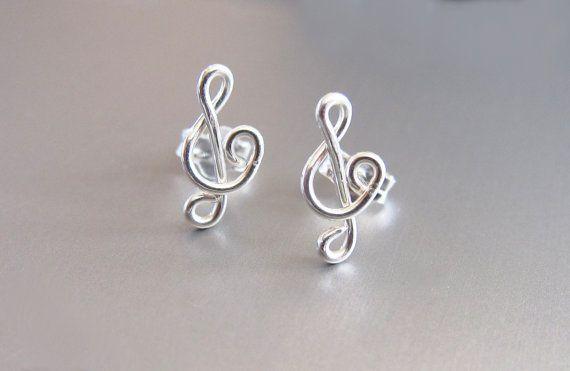 Sterling Silver Treble Clef Earrings Wire By Purplepoemcraft