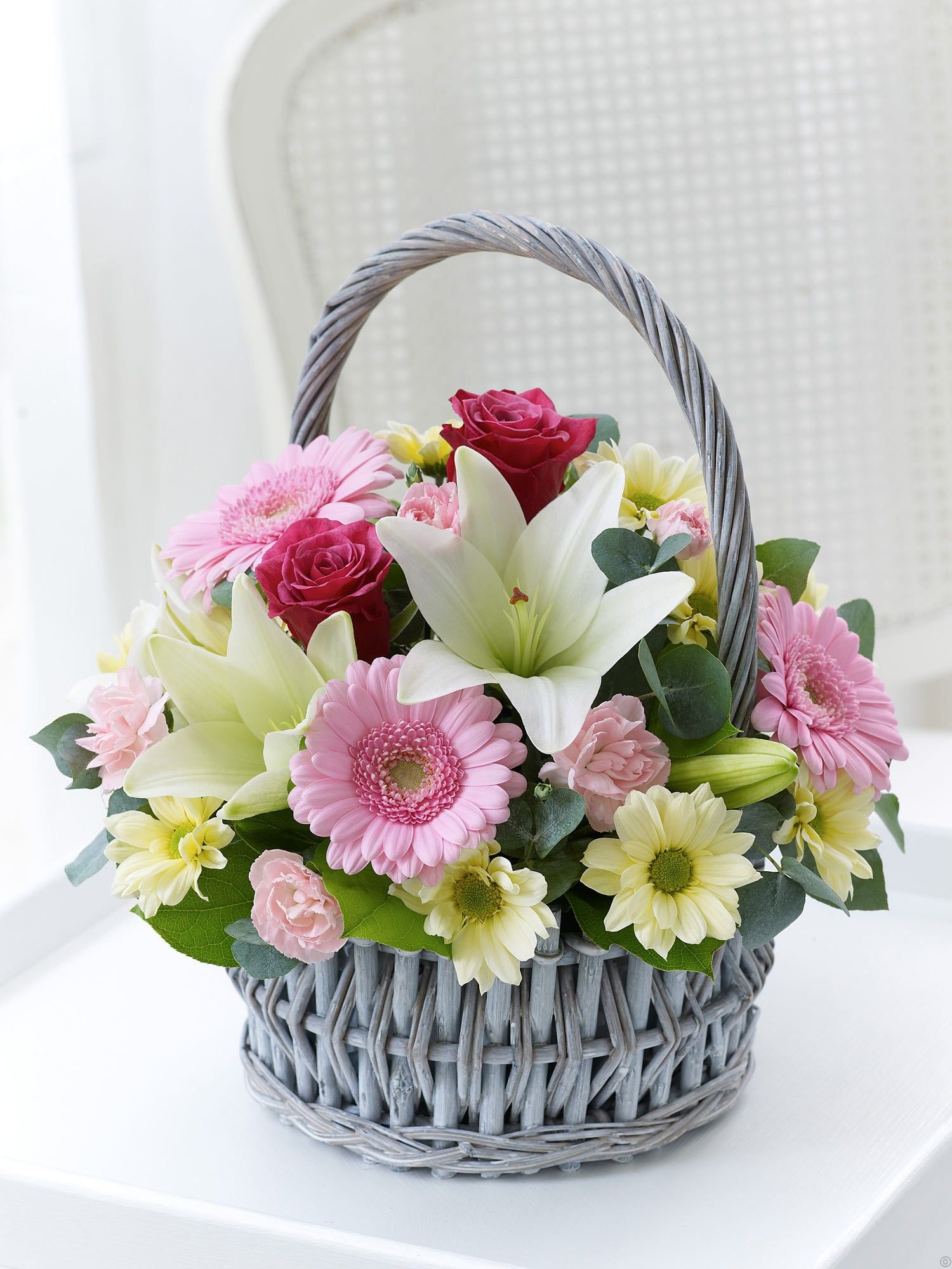 This delicate basket arrangement with its gentle colours and soft velvety pet
