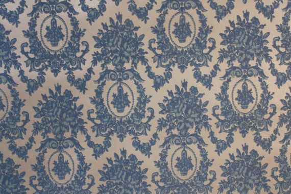 Retro Flock Wallpaper By The Yard 70s Vintage