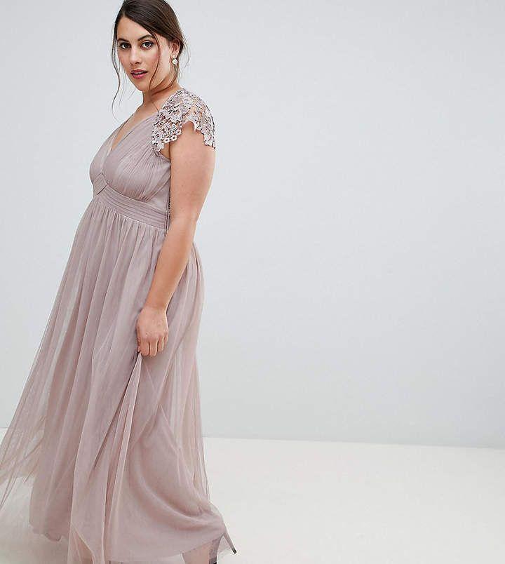 5a4bd22042 Little Mistress Plus All Over Lace Scallop Back Plunge Front Maxi Dress