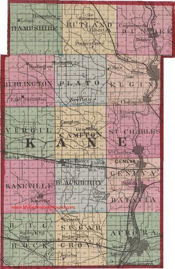 Hampshire Illinois Map.Kane County Illinois 1870 Map Aurora Batavia St Charles Elgin