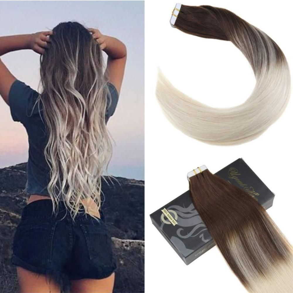 New Color Ugea 20pcs Ombre Tape In Hair Extensions Dark Brown And