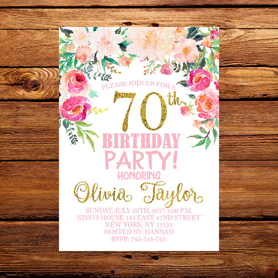 70th Birthday Invitation Floral Ladies Watercolor Flowers