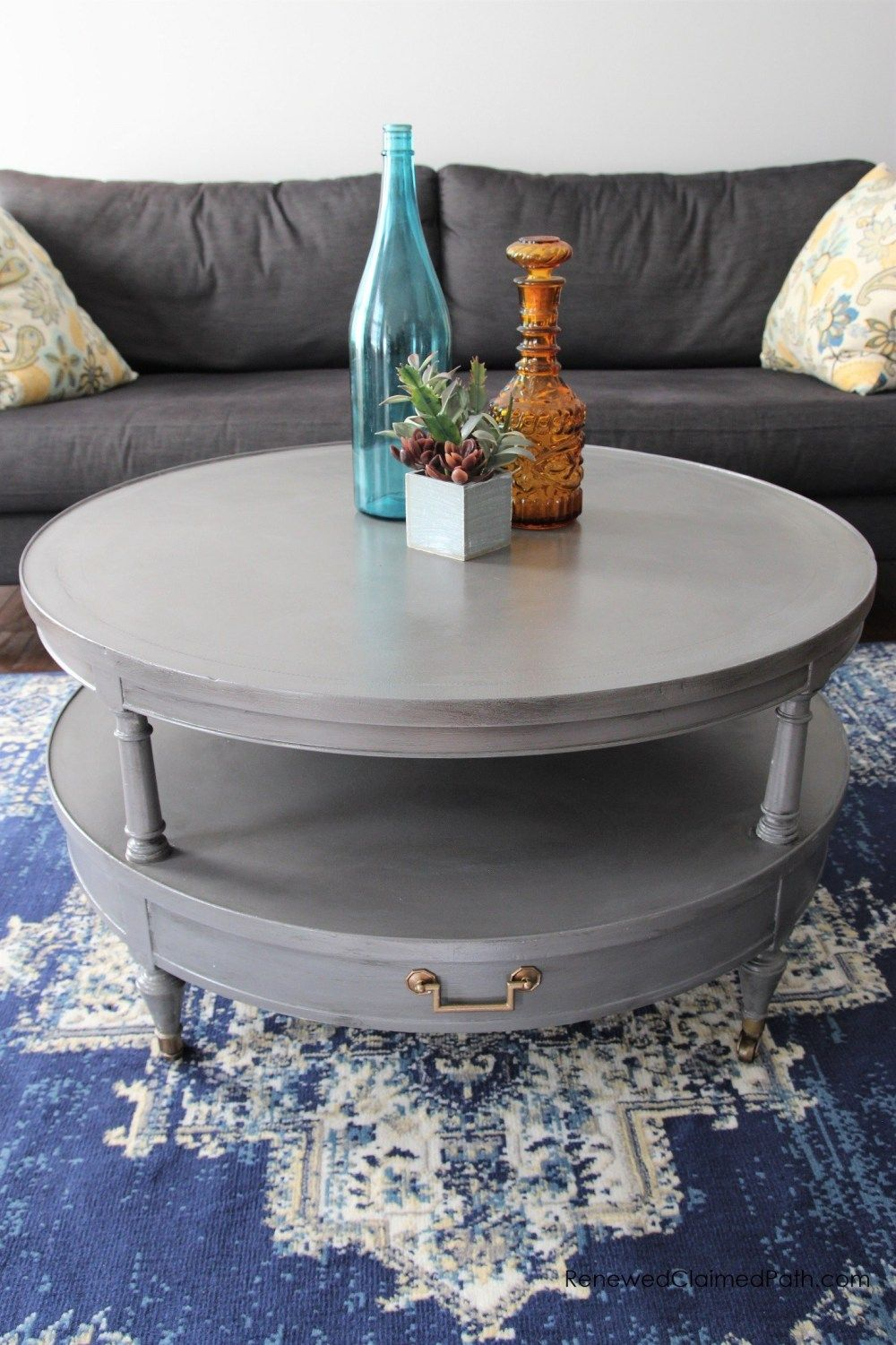 Rustic Farmhouse Round Coffee Table Makeover Coffee Table Makeover Coffee Table Farmhouse Table Makeover [ 1501 x 1000 Pixel ]