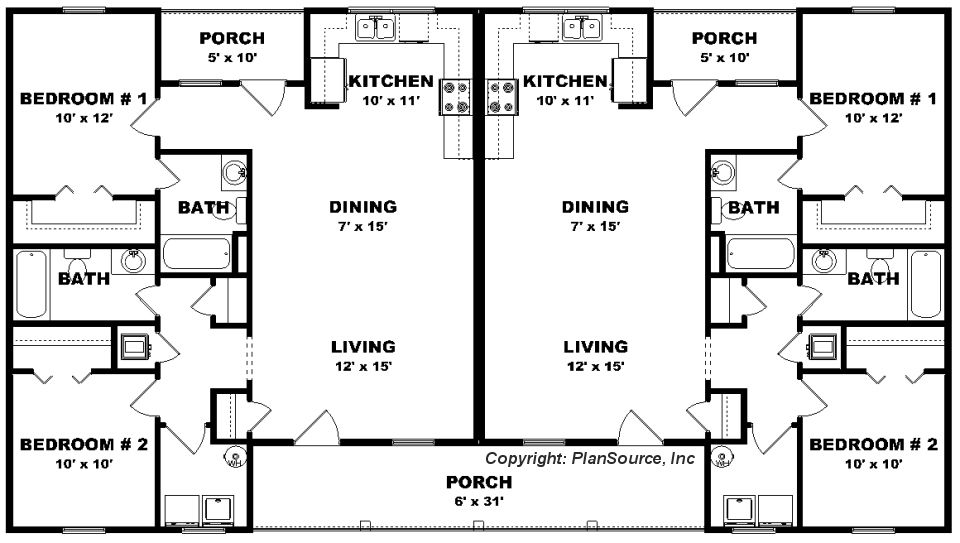 This Duplex Offers Both Front And Rear Porches Description From Msplansource Com I Searched Fo Basement House Plans Bedroom House Plans 5 Bedroom House Plans