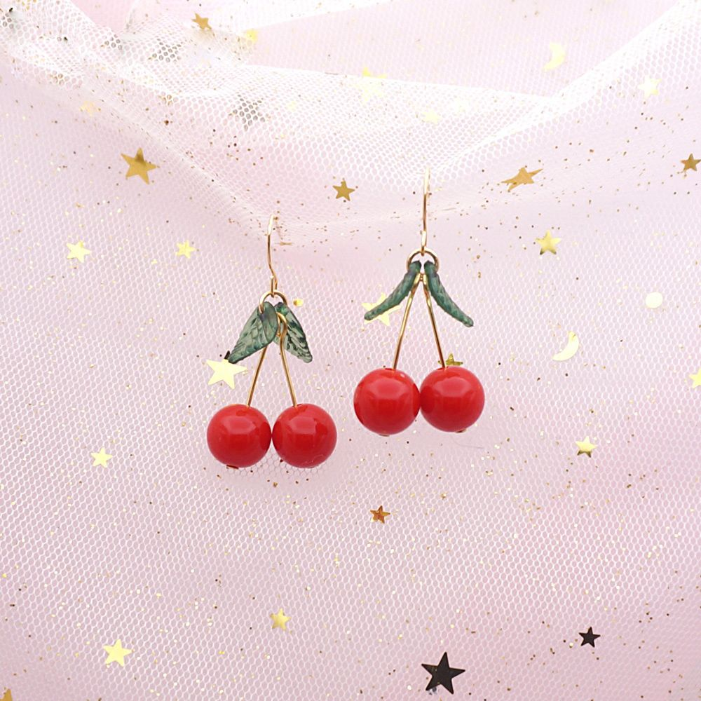 362b3e9dfd523 Lolita Cute Cherry Earrings Necklace Sweet Beauty Jewelry DC198 in ...