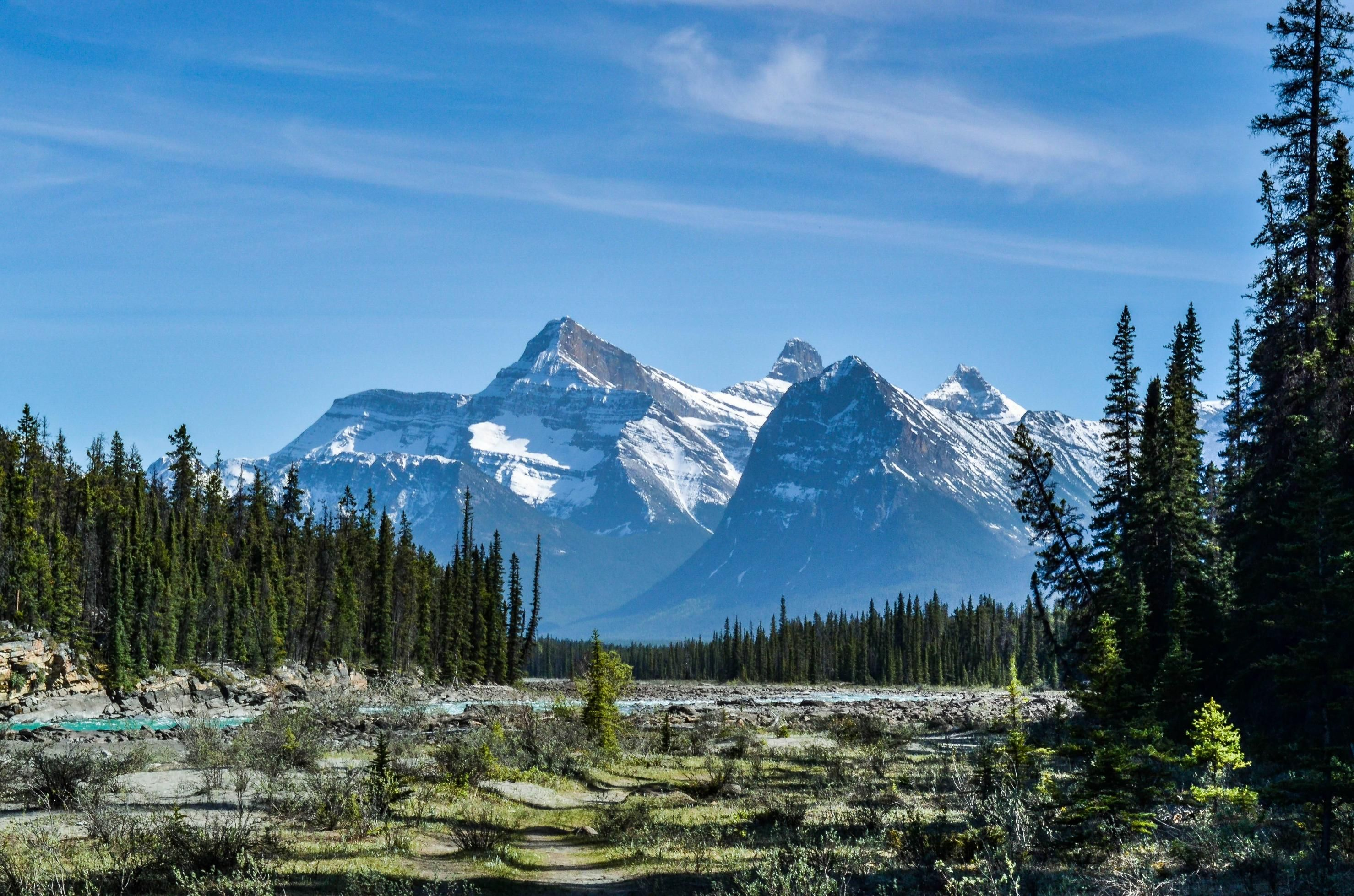 A distant mountain range as seen from athabasca falls in