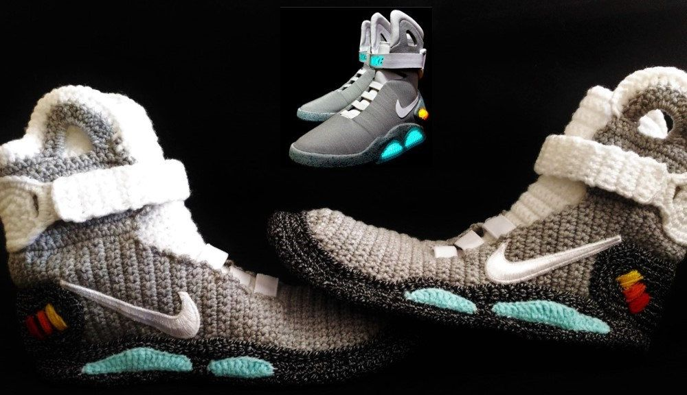 Back to the Future Knitted Slippers, Crochet Knitted Home Men's Women's Air  Mags Custom Slippers, Cosplay Boots, Flying Shoes, BTTFMMFAM2
