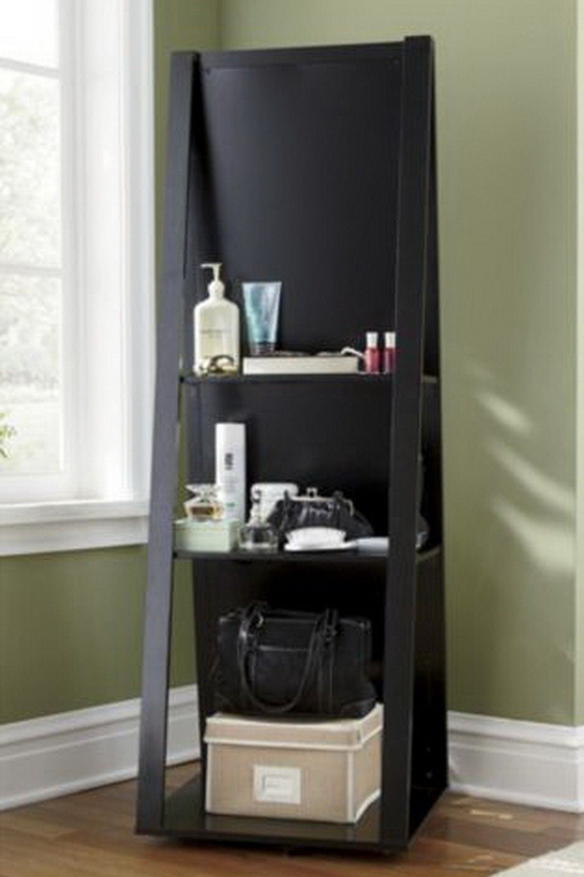 Swivel Base with Mirror Jewelry Armoire - Black | Remodel ...