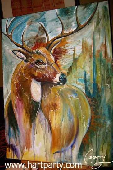 """""""Monarch"""" by cinnamon Cooney Painting of whited tailed buck Private collection"""