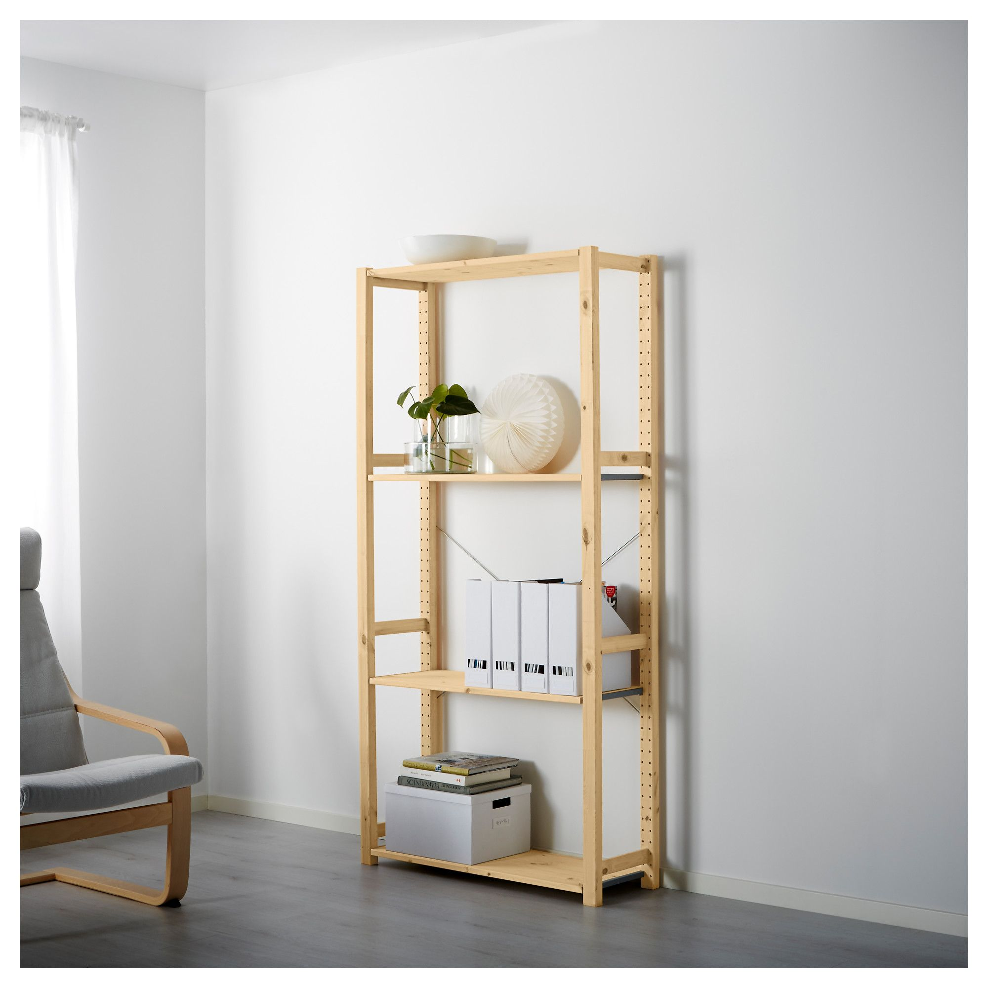 Hallway storage next  IVAR Shelving unit pine  tall storage  Pinterest  Pine