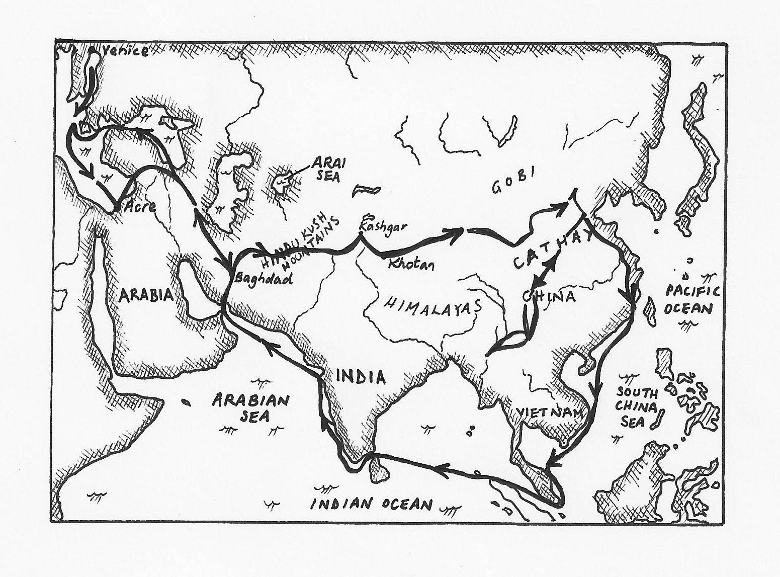 Beautiful black and white map of Marco Polo's journey. We