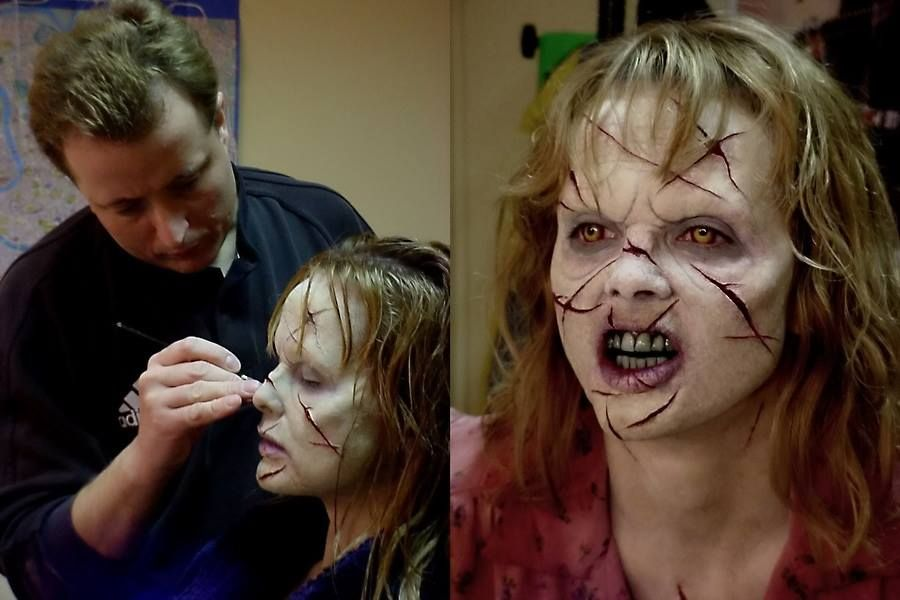 Marvelous Gary J Tunnicliffe Applies Make Up To Actress Izabella Scorupco For Exorcist:  The Beginning (2004)