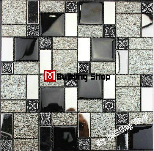 Kitchen Backsplash Silver black white glass mosaic kitchen wall tiles backsplash rnmt100