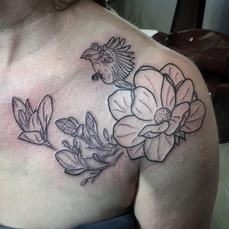 Magnolia Flower Chest Tattoo