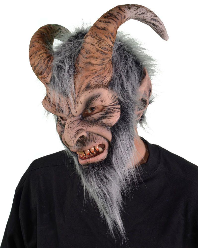 Krampus Gray Horned Devil Monster Adult Latex Halloween Mask ...