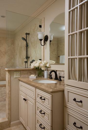 Color Scheme Cream Cabinets Bronze Fixtures Darker Brown