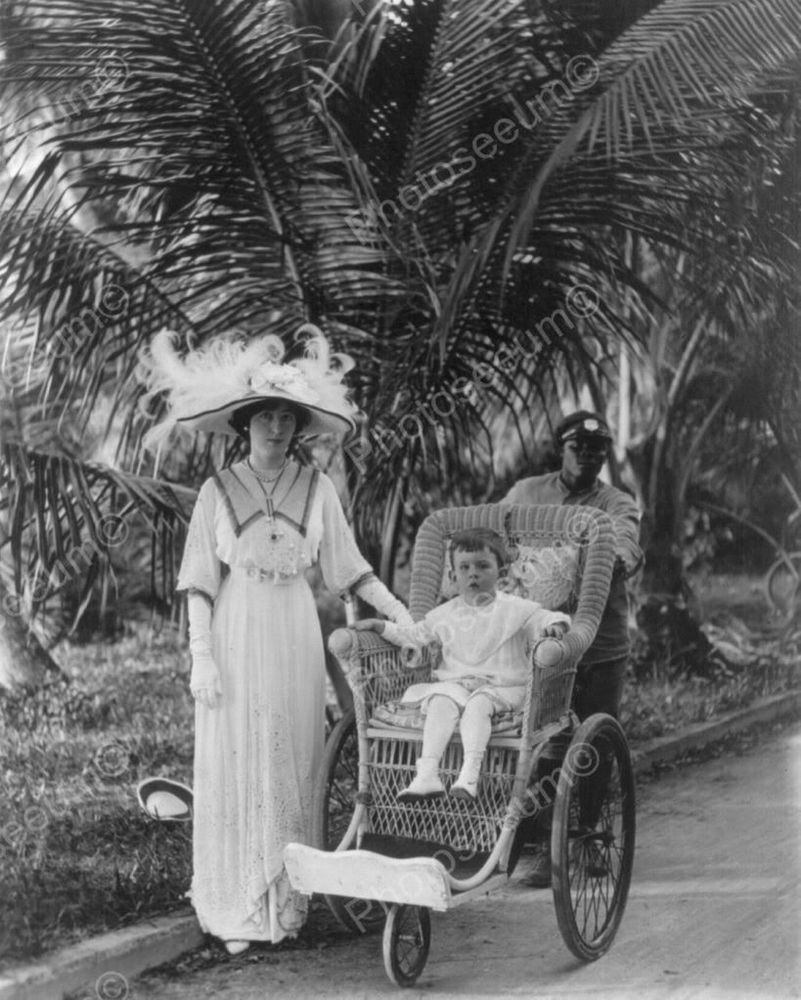 Chair Stroller Tot & Tea Hat Lady 1800s 8x10 Reprint Of Old Photo