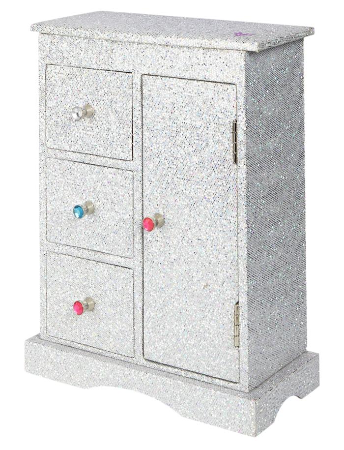 Silver Glitter Jewelry Armoire Organization Room Accessories