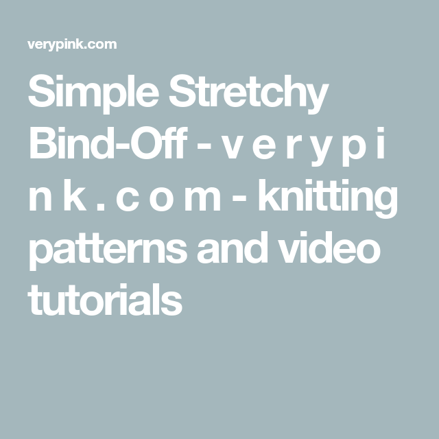 Simple Stretchy Bind-Off