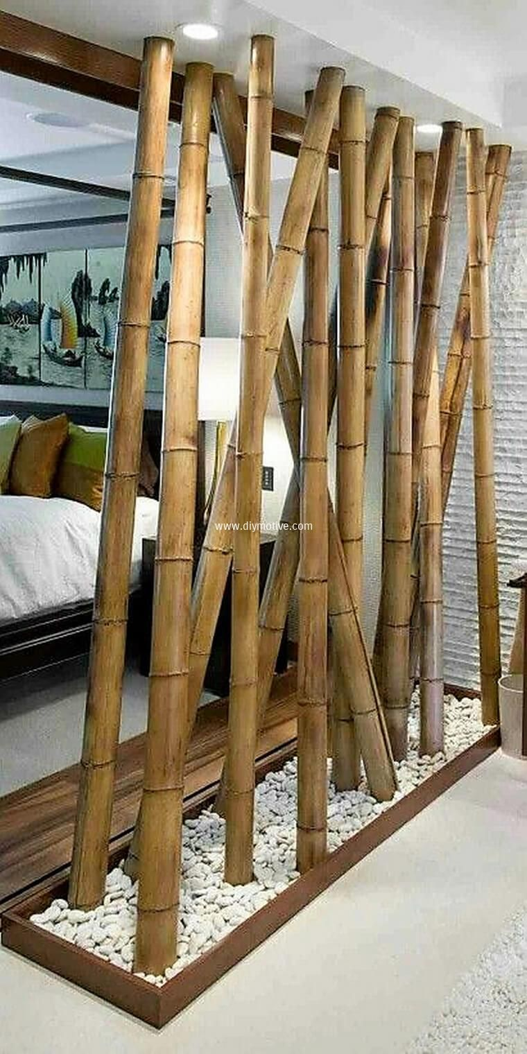 Creative ideas with bamboo white pebbles divider and outdoors