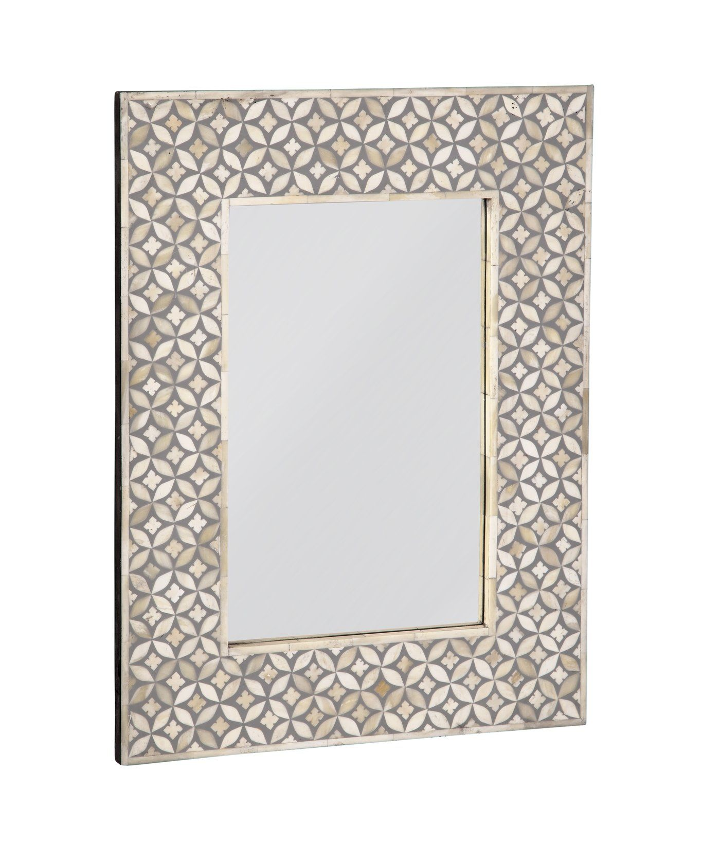 Wooden Lily And Bone Mirror Frame Gray White In 2020 Bone Inlay Mirror Mirror Frames