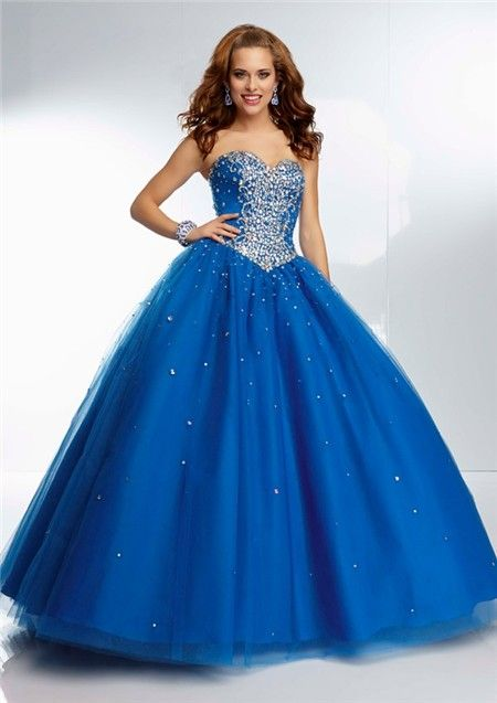 Gorgeous Ball Gown Sweetheart Corset Back Royal Blue Tulle Beaded ...