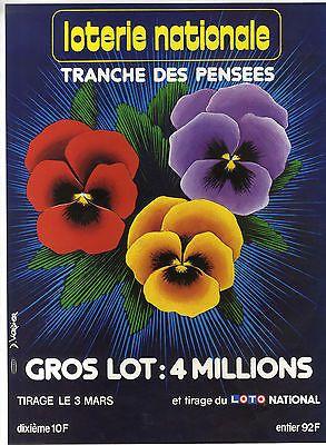 AFFICHE LOTERIE NATIONALE  TRANCHE DES PENSEES FLEUR AGRICULTURE 1982 VERDIER