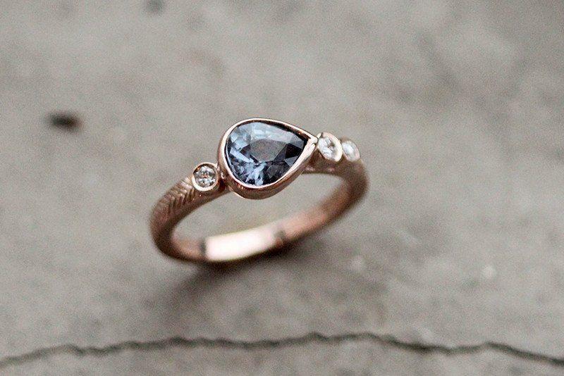 Anniversary Gold Montana Sapphire Chevron Ring V band Ring Bridal Silver Timeless Alternative Classic