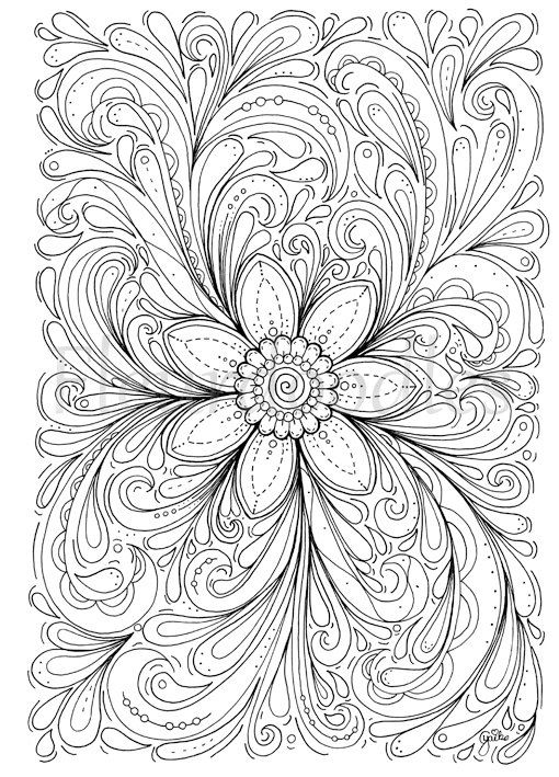 floral coloring page - Dream of a Flower - instant download ...