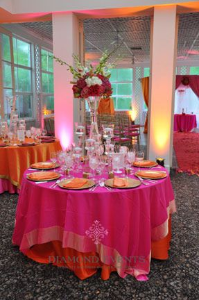 Pretty Reception...orange Tablecloth Needs To Be On Top Though