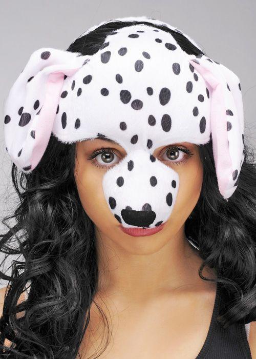 Dog Ears Mask: Dalmatian Half Face Mask Headpiece With Ears