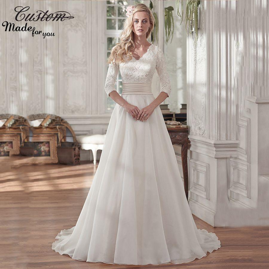 Luxury Tulle Three Quarter Sleeve A Line Wedding Dress: Vintage A Line V Neck Lined Three Quarter Sleeves Custom