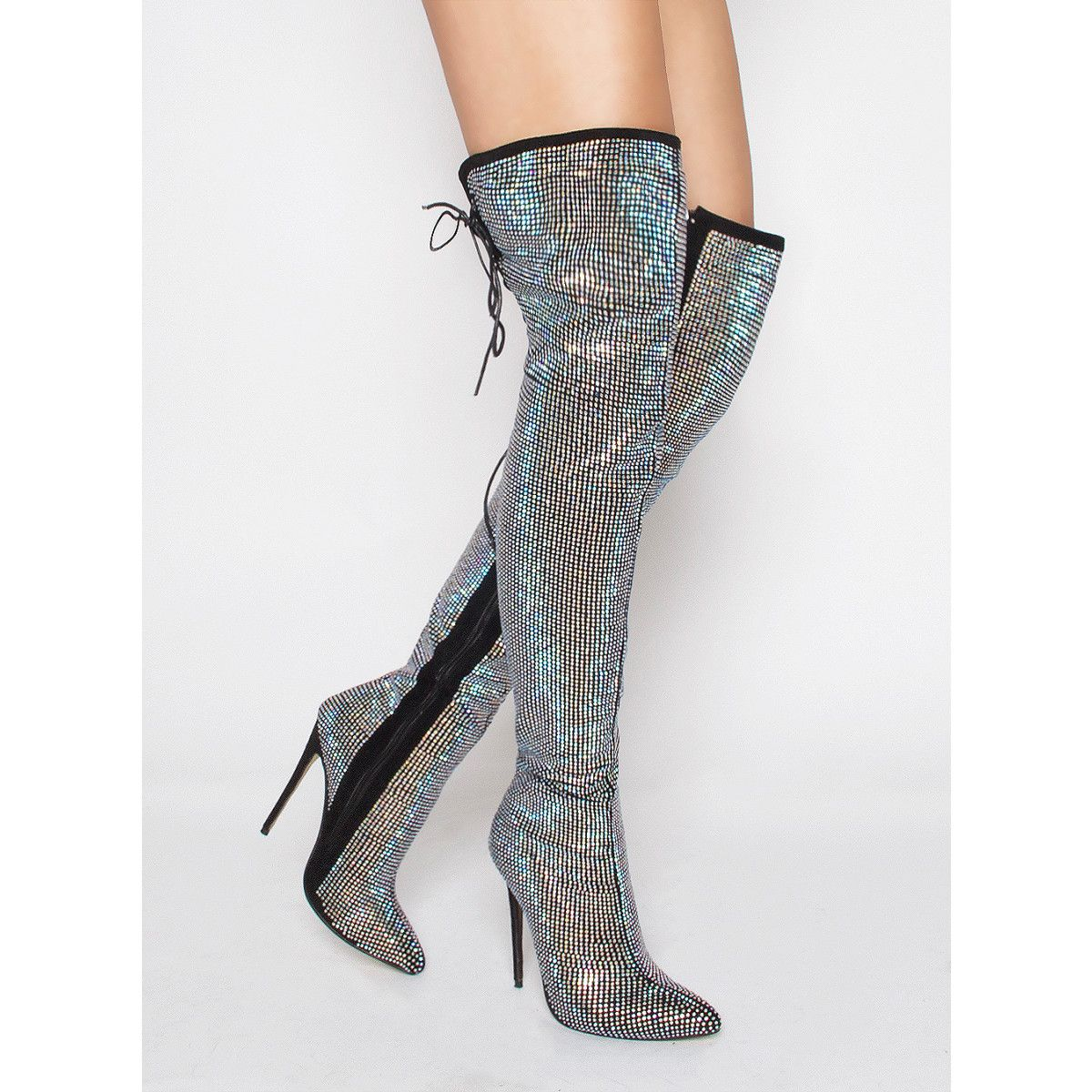 b419cf96573 Akila Black Suede Rainbow Diamante Thigh High Boots   Simmi Shoes ...