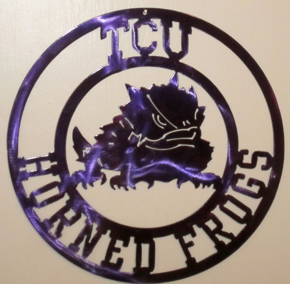 T C U Sign Metal Texas Christian University Horned Frogs Horned Frogs Texas Christian University Metal Art