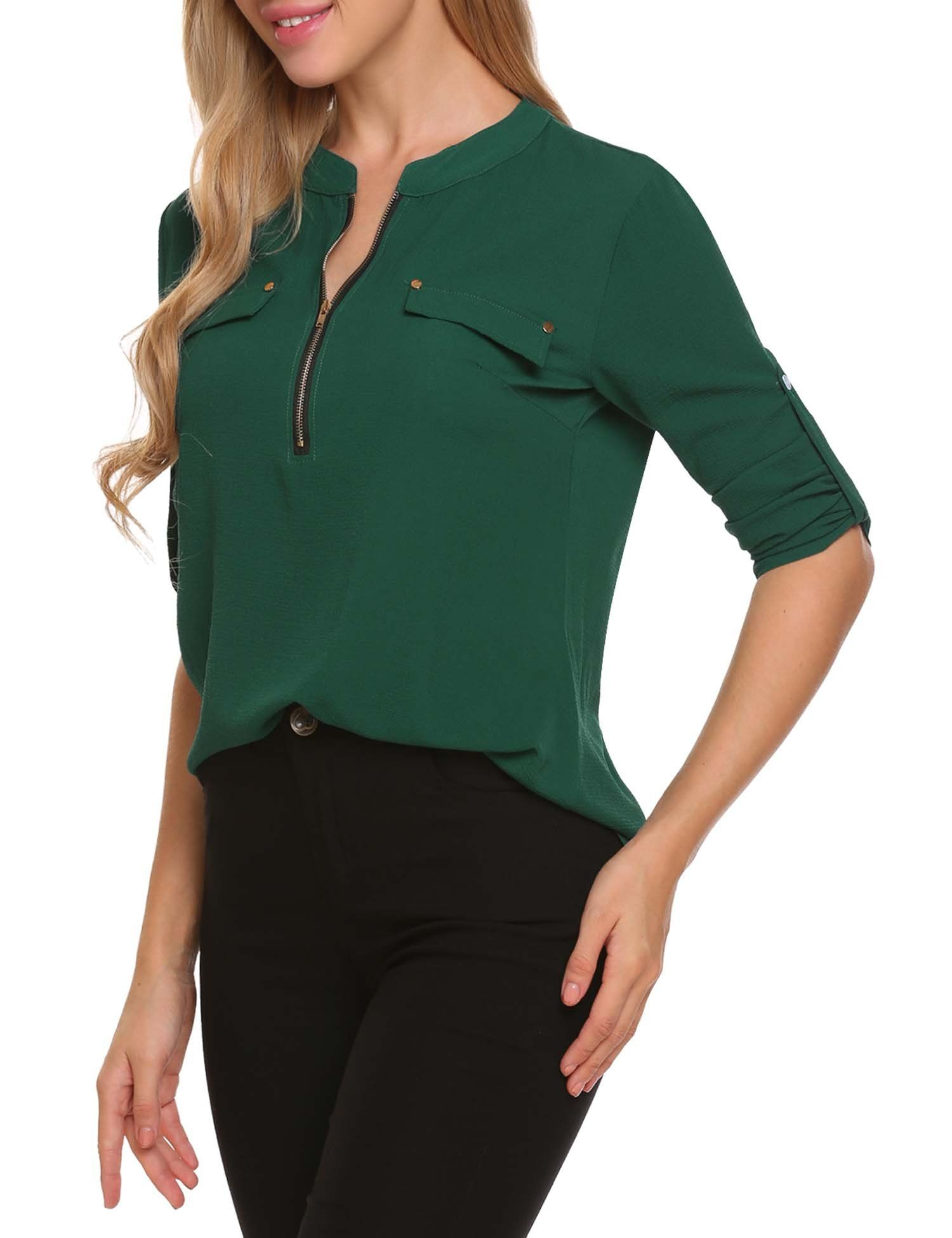 01da945ed6e ANGVNS Women Loose V Neck Half Sleeve Chiffon Top Dark Green XL -- Click on  the image for additional details. (This is an affiliate link)
