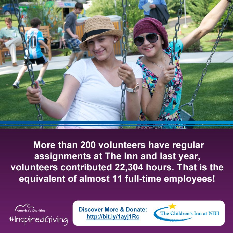 Volunteers gave 22,304 hrs to The Children's Inn at NIH last year. That's like having 11 full-time employees!