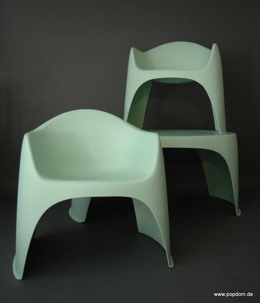Walter Papst; Polyester / Fiberglass Arm Chairs Mauser