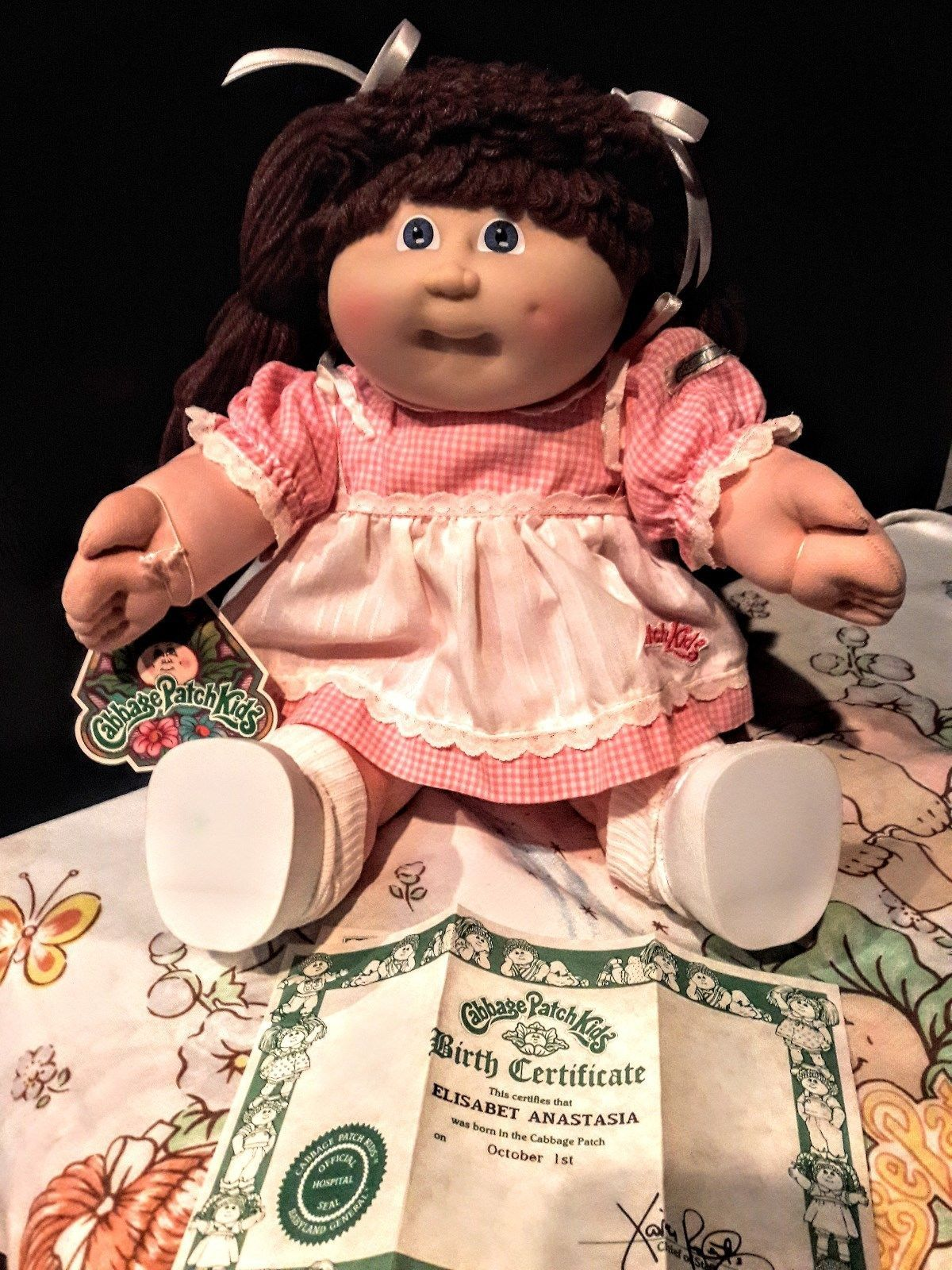 1985 Vintage Cabbage Patch Kids Girl Hm 3 Ic3 Factory Rare Pink Country Dress Cabbage Patch Kids Rare Pink Kids Girls