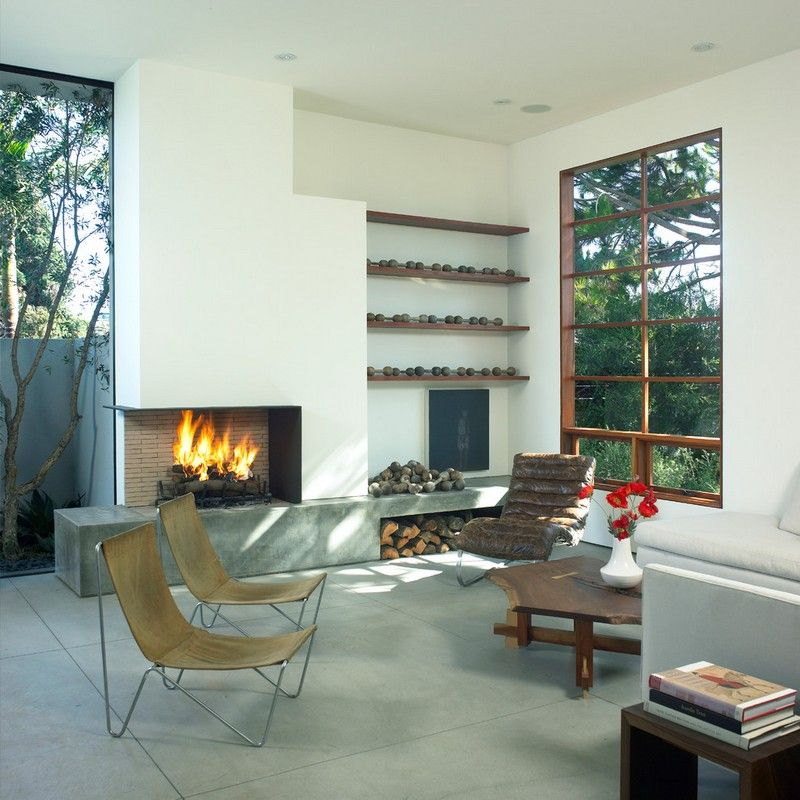 Brennholz-lagern-Beton-Kamin-moderner-Landhausstil-Wohnzimmer ...