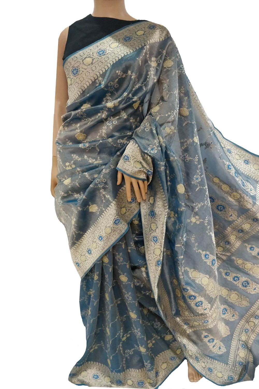 Tissue silk saree buy blue handloom banarasi pure tissue silk saree  silk sarees