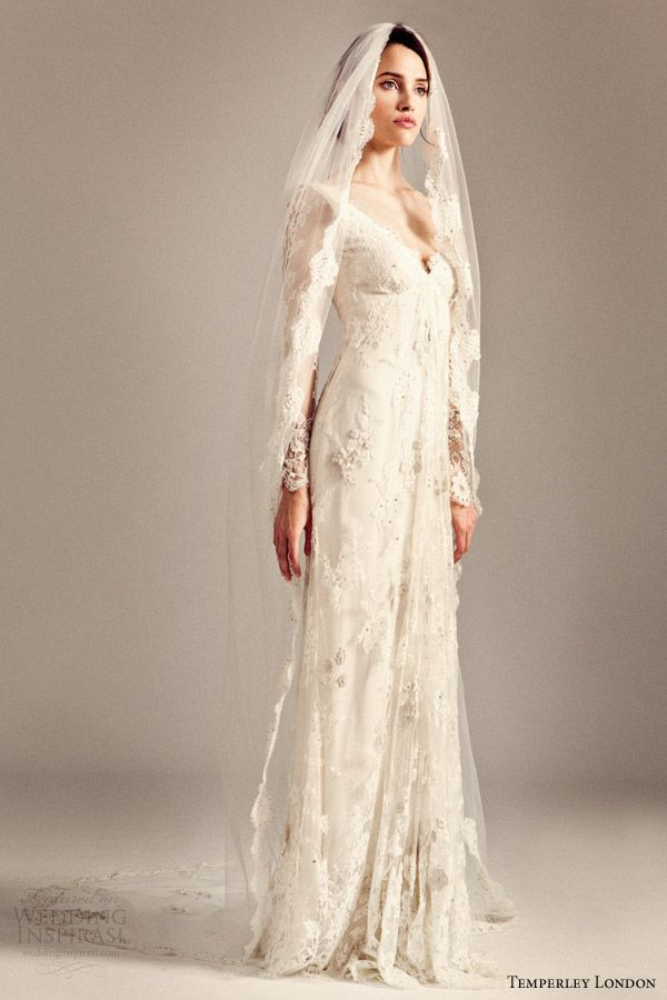 temperley bridal 2014 iris collection long sleeve wedding dress with long honor veil