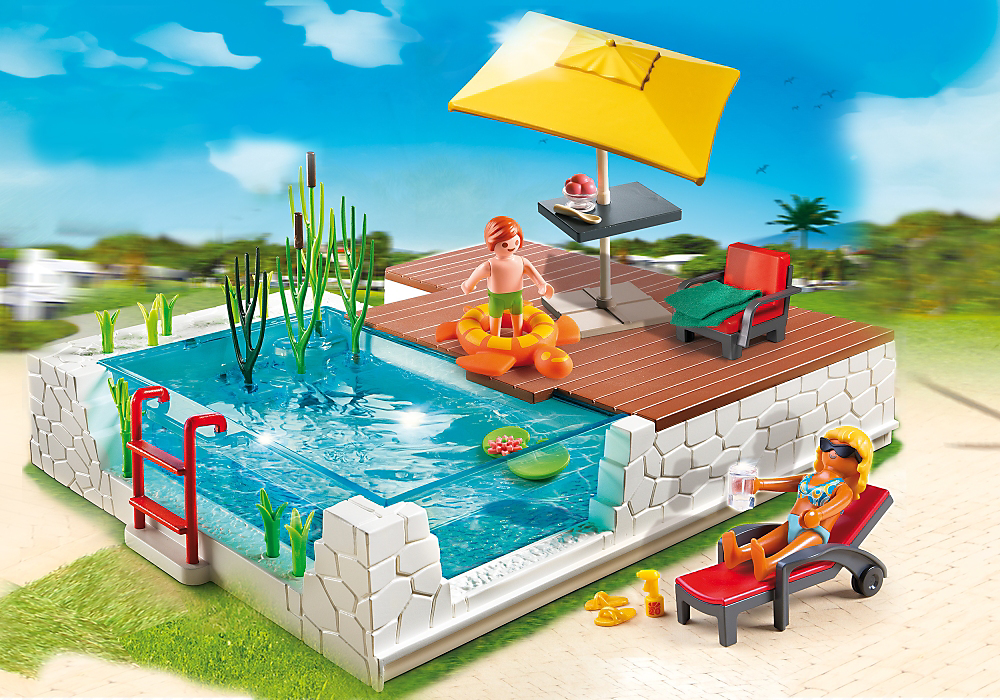 Badezimmer Playmobil ~ Swimming pool with terrace playmobil usa playmobil