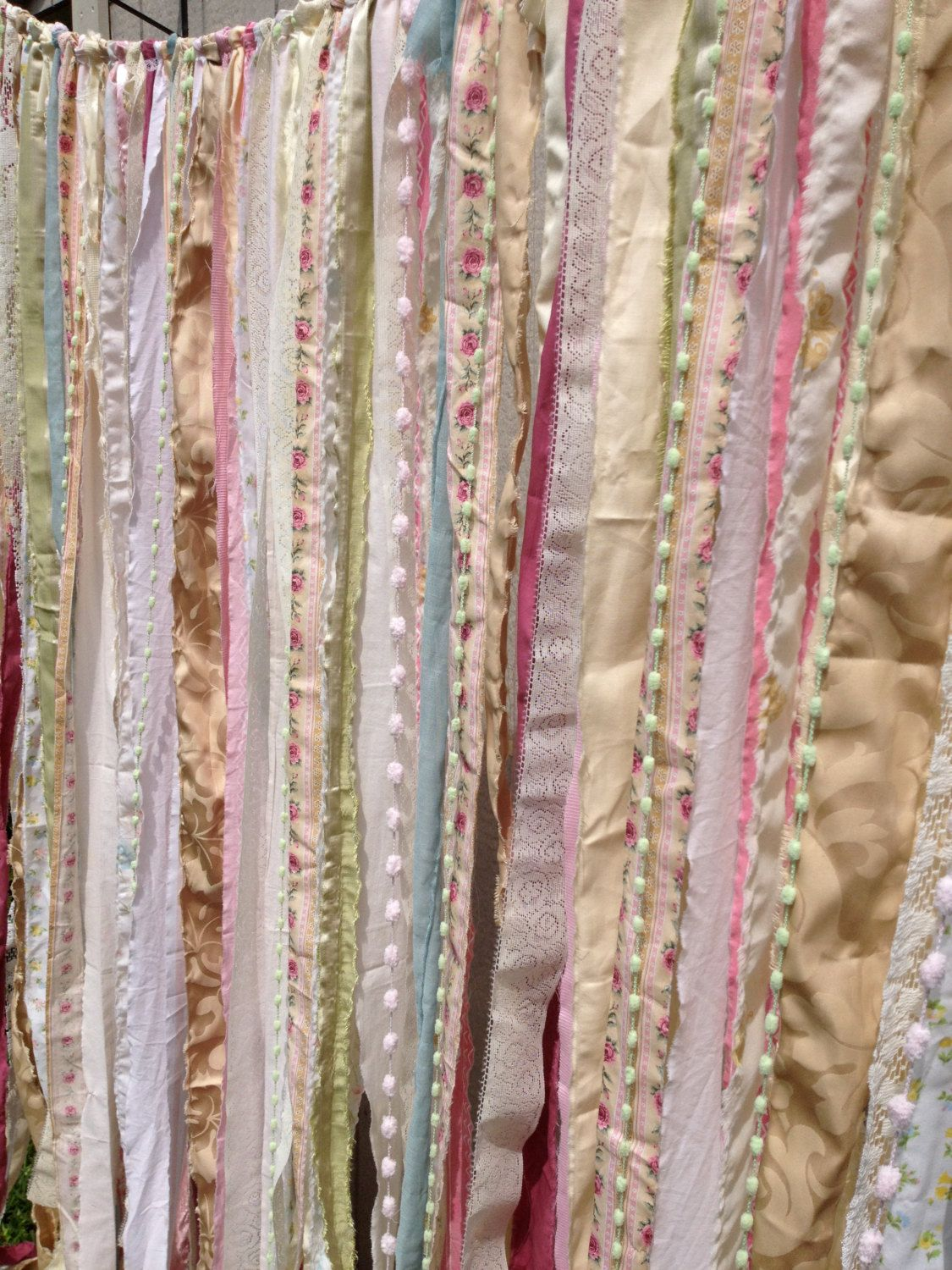 Diy Shabby Rustic Chic Boho Fabric Garland Backdrop New