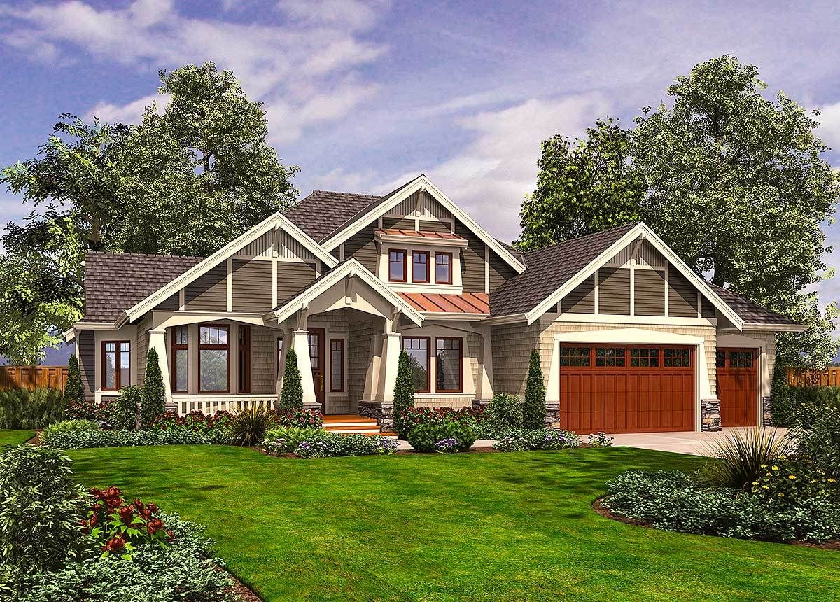 Plan 23382jd Rambler With 3 Car Garage With Images Ranch