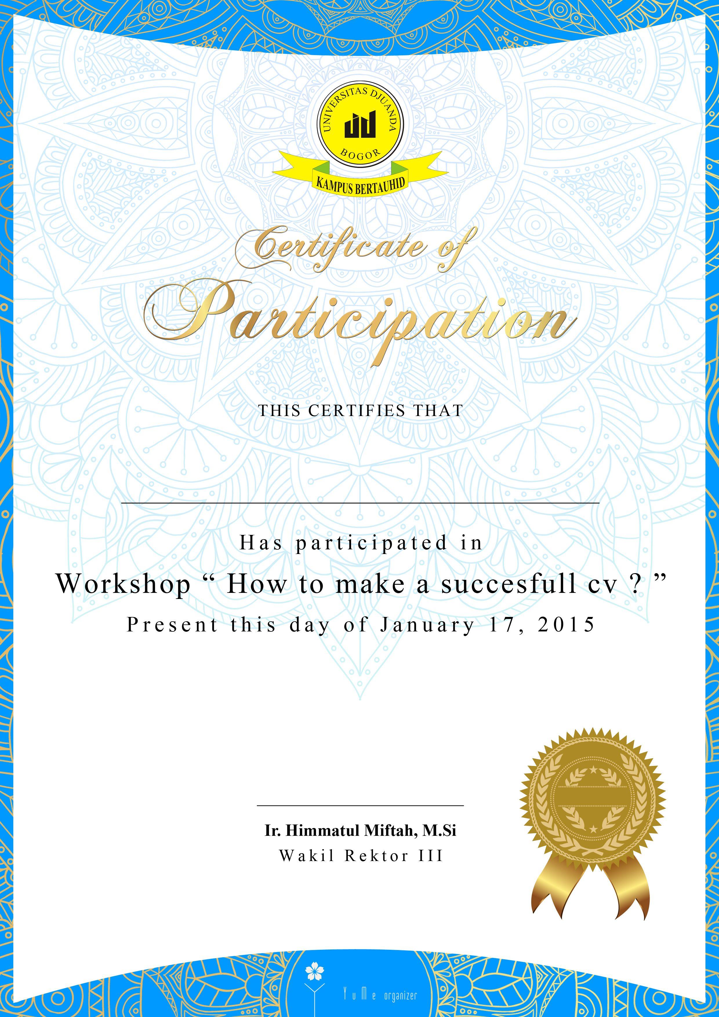Certificate Cv Workshop Event Certificate Design