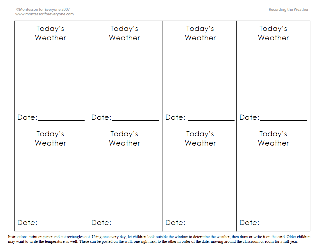Recording The Weather Printable