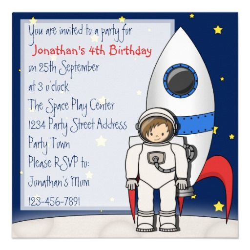 Astronaut and rocket ship birthday party invites party invitations astronaut and rocket ship birthday party invites filmwisefo